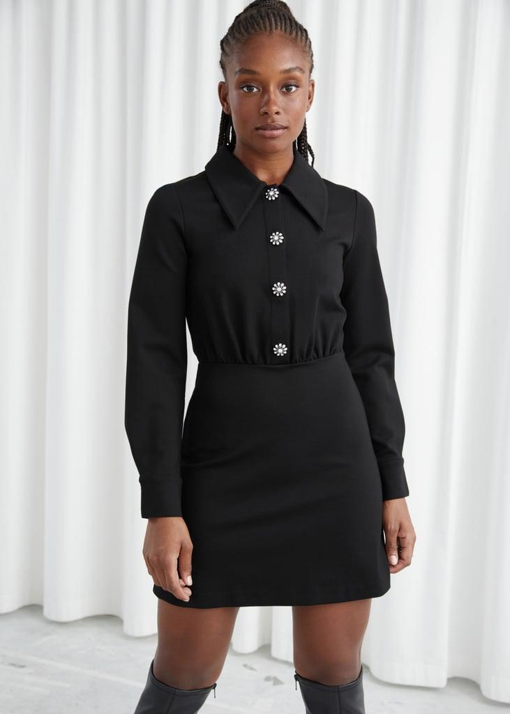 Structured Diamanté Button Mini Dress