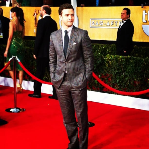 Justin Timberlake sported a checkered Tom Ford suit at the SAGs. Source: Instagram user popsugar