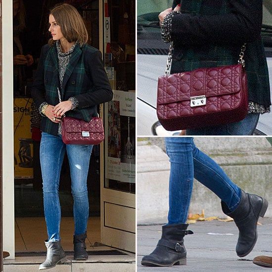 Olivia Palermo Pulls off Burgundy and Plaid on the Street in Paris: Steal Her Off-Duty Style!