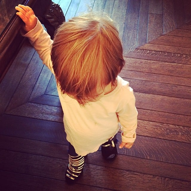 Penelope Disick took a turn walking in her mom Kourtney Kardashian's shoes. Source: Instagram user kourtneykardash