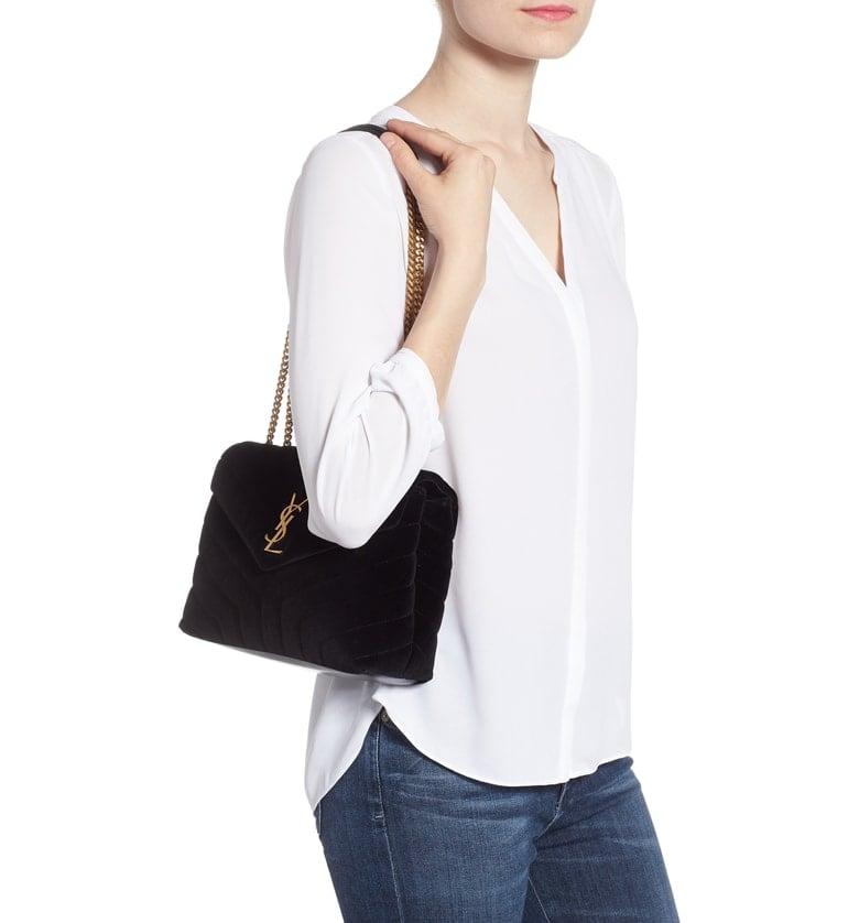 Saint Laurent Small Loulou Velvet Shoulder Bag