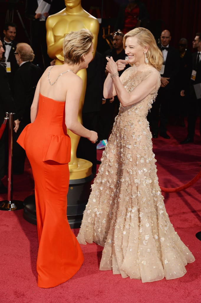 Jennifer Lawrence and Cate Blanchett at the 2014 Oscars.