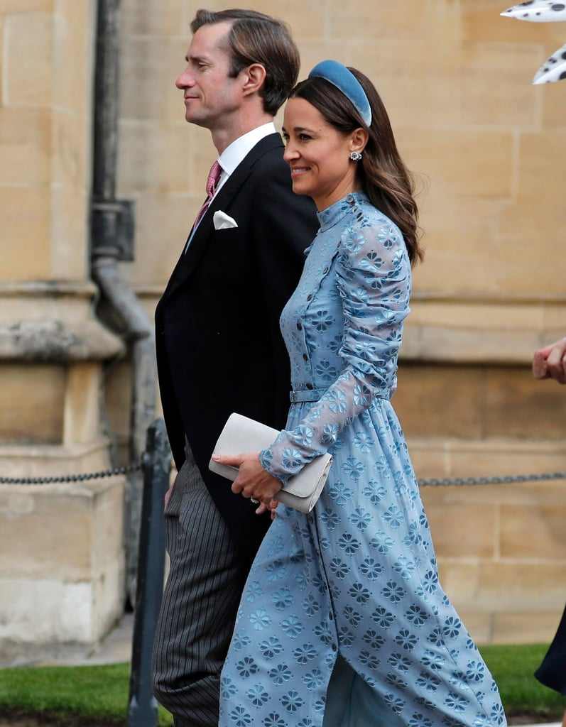 Pippa Middleton Blue Dress at Lady Gabriella Windsor Wedding
