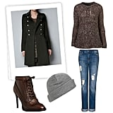 Give your off-duty look a cool utilitarian twist, two ways. First, top off laid-back textures with a long, slick military coat. Then, add a structured lace-up bootie — we're loving the oxford slant here — for an on-trend finish. Get the Look:   Topshop Knitted Tweed Cable Jumper ($90)  Mango Boyfriend Style Jeans ($70)  Zara Woolen Military Coat ($169)  Brixton Heist Beanie ($18)  Burberry Lace-Up Pointed Toe Oxford Booties ($795)
