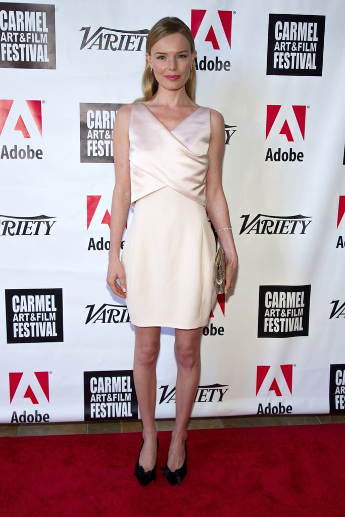 Kate Bosworth debuted a blush Dior cocktail dress at the premiere of Big Sur at the 5th Annual Carmel Art & Film Festival, which she accessorized with a white gold and diamond bracelet and pair of earrings from the brand's fine jewellery collection.