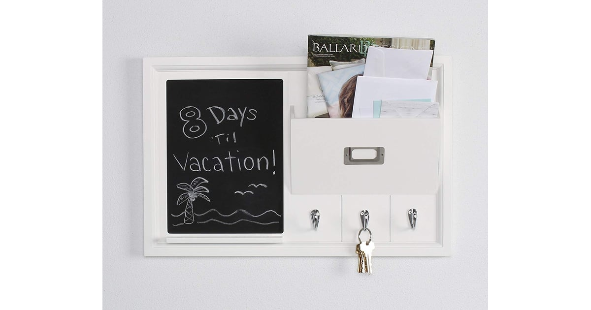 Decorative Home Organizer With Chalkboard, Mail Holder, and Key Hooks