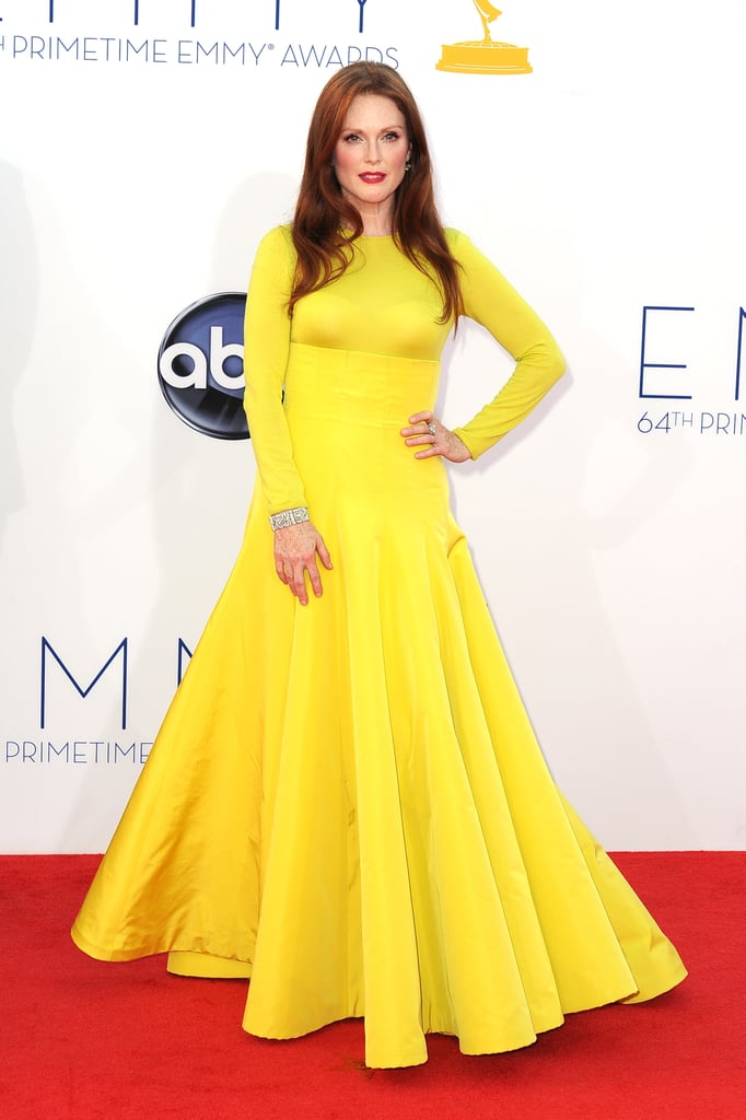Julianne Moore popped against the 2012 Emmy Awards red carpet in her yellow Christian Dior Fall 2013 Couture gown.