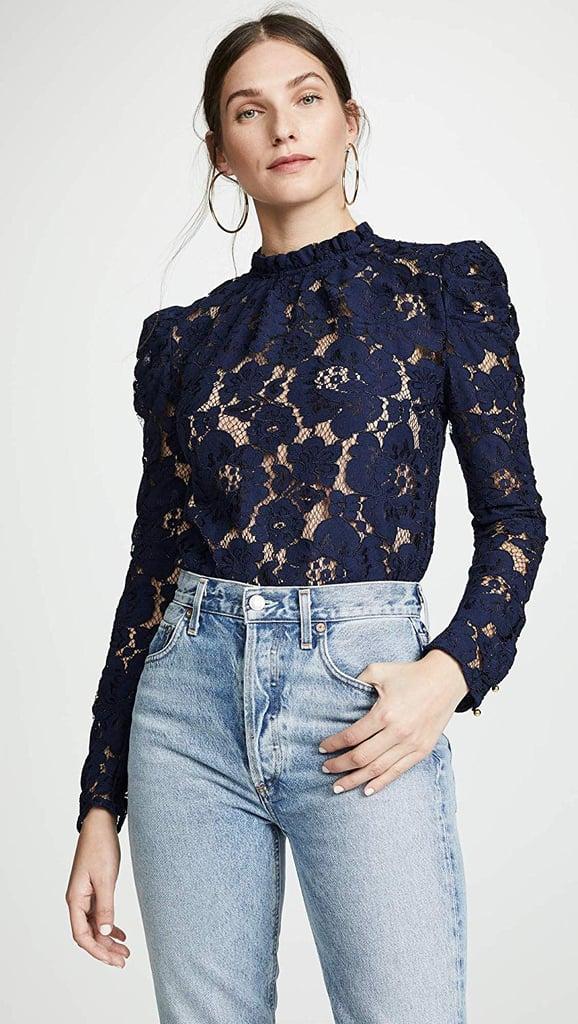 Wayf Emma Puff-Sleeve Lace Top
