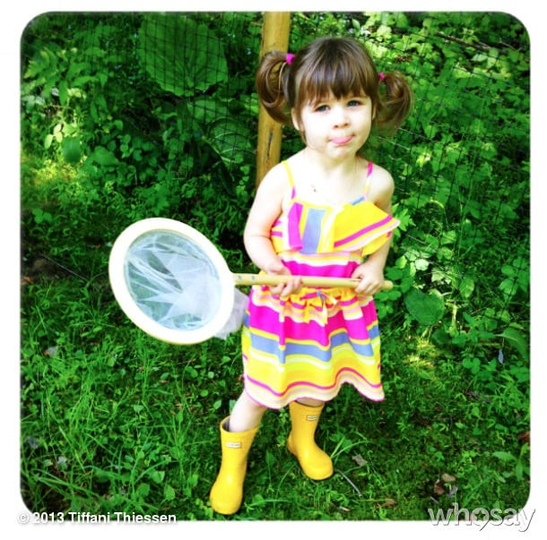 "Harper Smith played heart-catcher as she ""went out to capture [Dad's] heart like you did Mommy's."" Source: Instagram user tathiessen"