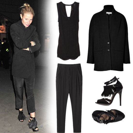 Gwyneth Paltrow keeps her all-black mix classic, opting for a menswear-style coat and silky black trousers — then she turns up the drama on a monochromatic palette with a pair of fringed heels. All you need to adopt this look for a night out is a slinky tank underneath. Get the look:  Rag & Bone Knit Cross Back Tank ($105) 3.1 Phillip Lim Draped Pocket Trousers ($375) Vanessa Bruno Athé Black Wool-Blend Coat ($675) Giambattista Valli High-Heeled Sandals ($398)