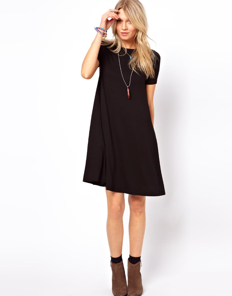 The little black dress can be done a thousand different ways. Make sure your office go-tos include at least a couple of options, including this ASOS swing cut ($37).