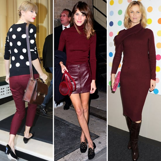 Alexa Chung, Taylor Swift and Eva Herzigova Wear Burgundy