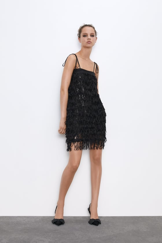 Zara Sequinned Fringe Dress