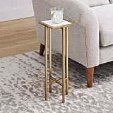 Square Marble and Brass Drink Table
