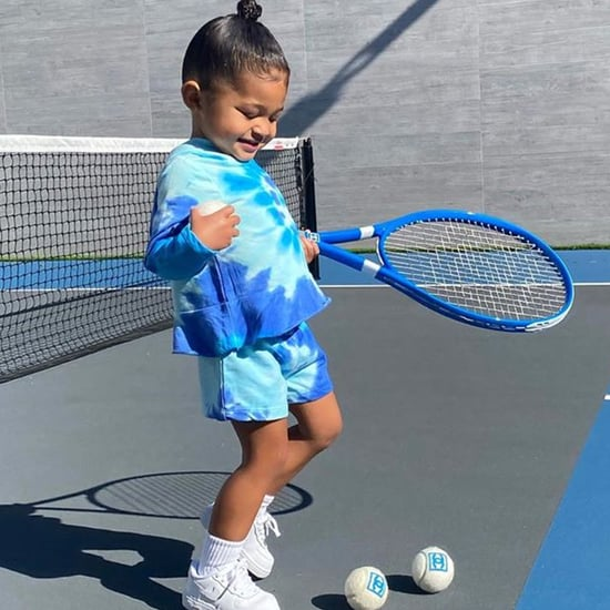 Stormi Webster Wore a Stylish Blue Tie-Dye Loungewear Set