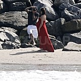 Victoria and David Beckham on the beach in Malibu.