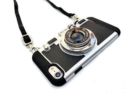 Modern 3D Vintage Style Camera Design Silicone Cover with Long Strap Rope for Phone 11 PRO MAX//X//XS New Emily in Paris Phone Case Vintage Camera