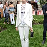 Anne looked sleek and chic donning a white Stella McCartney trouser suit  for the designer's Spring 2012 presentation dinner in NYC.