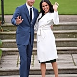If you and your partner are looking to channel Meghan and Harry's newly engaged glow this Halloween, one of you will need a white trench coat like Meghan's, to be paired with a green dress and neutral lace-up heels, while the other should wear a crisp blue suit, navy blue tie, white button-down, silver cuff bracelet, and black shoes. And if you really want to get into character, keep waving at your friends as if they're the paparazzi during your Halloween festivities.