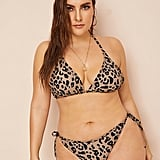 Shein Plus Leopard Triangle Top With Tie-Side Bikini