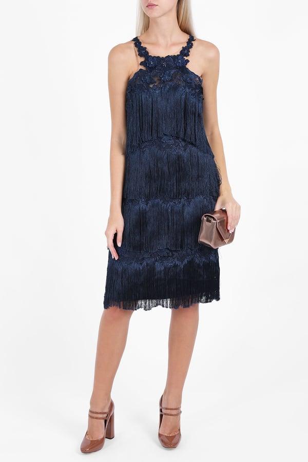 Marchesa Fringe Cocktail Dress