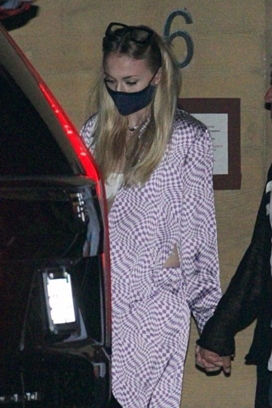 Sophie Turner's Purple Checkered Pajamas on Date Night