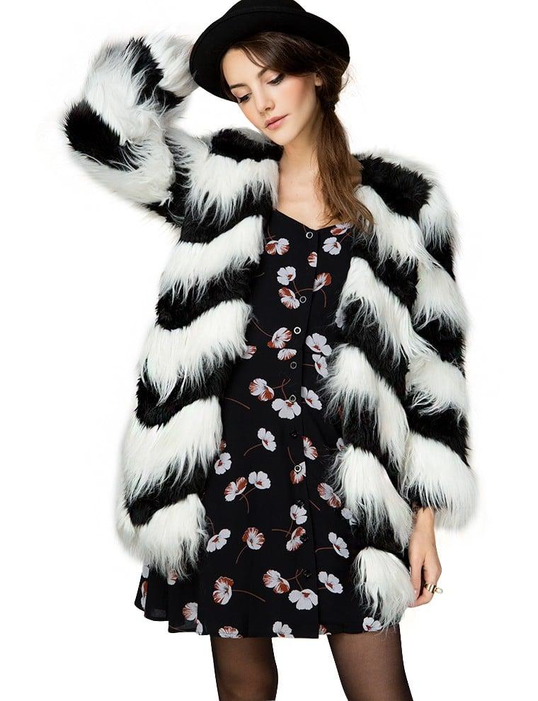 Pixie Market Ziggy Black And White Faux Fur Coat 139 Faux Fur