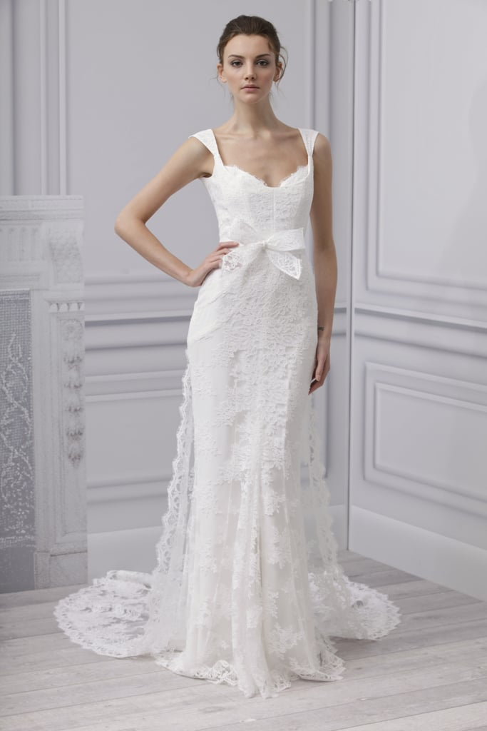 """This Monique Lhuillier creation is made for a serious princess moment. I love the skinny straps to define a long neck and collarbone, the ultrafeminine chantilly lace train, and the cinched bow detail."" — Marisa Tom, associate editor Monique Lhuillier Spring 2013 Embrace Dress"