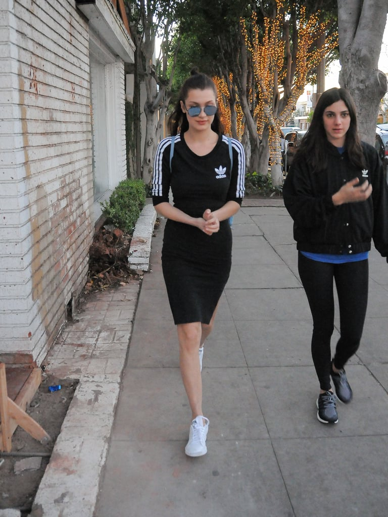 Bella wearing an Adidas T-shirt dress.