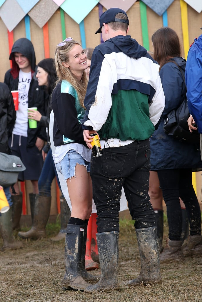 Cressida Bonas chatted with We're the Millers star Will Poulter during the Glastonbury Festival in England on Saturday.