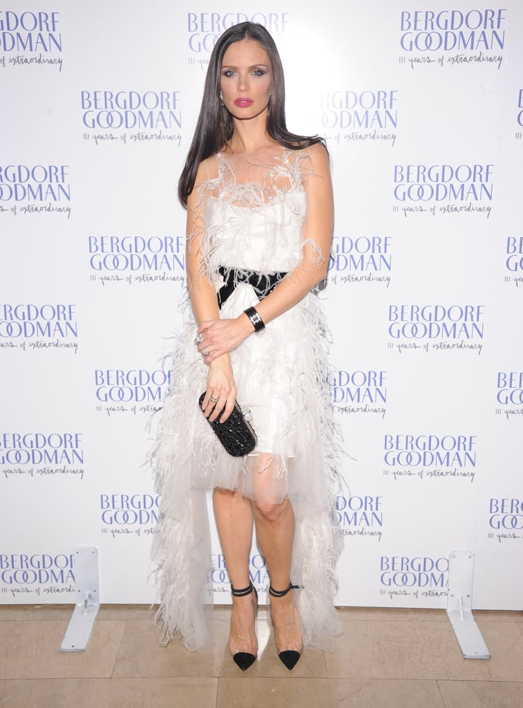 Marchesa's Georgina Chapman made an entrance in one of her own feathery confections.