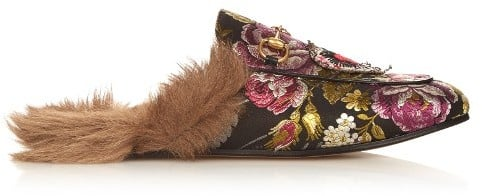 Gucci Princetown Fur Lined Floral Loafer ($840)