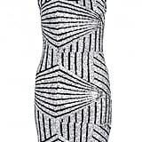 Quiz Silver and Black Embellished Bodycon Dress (£30)