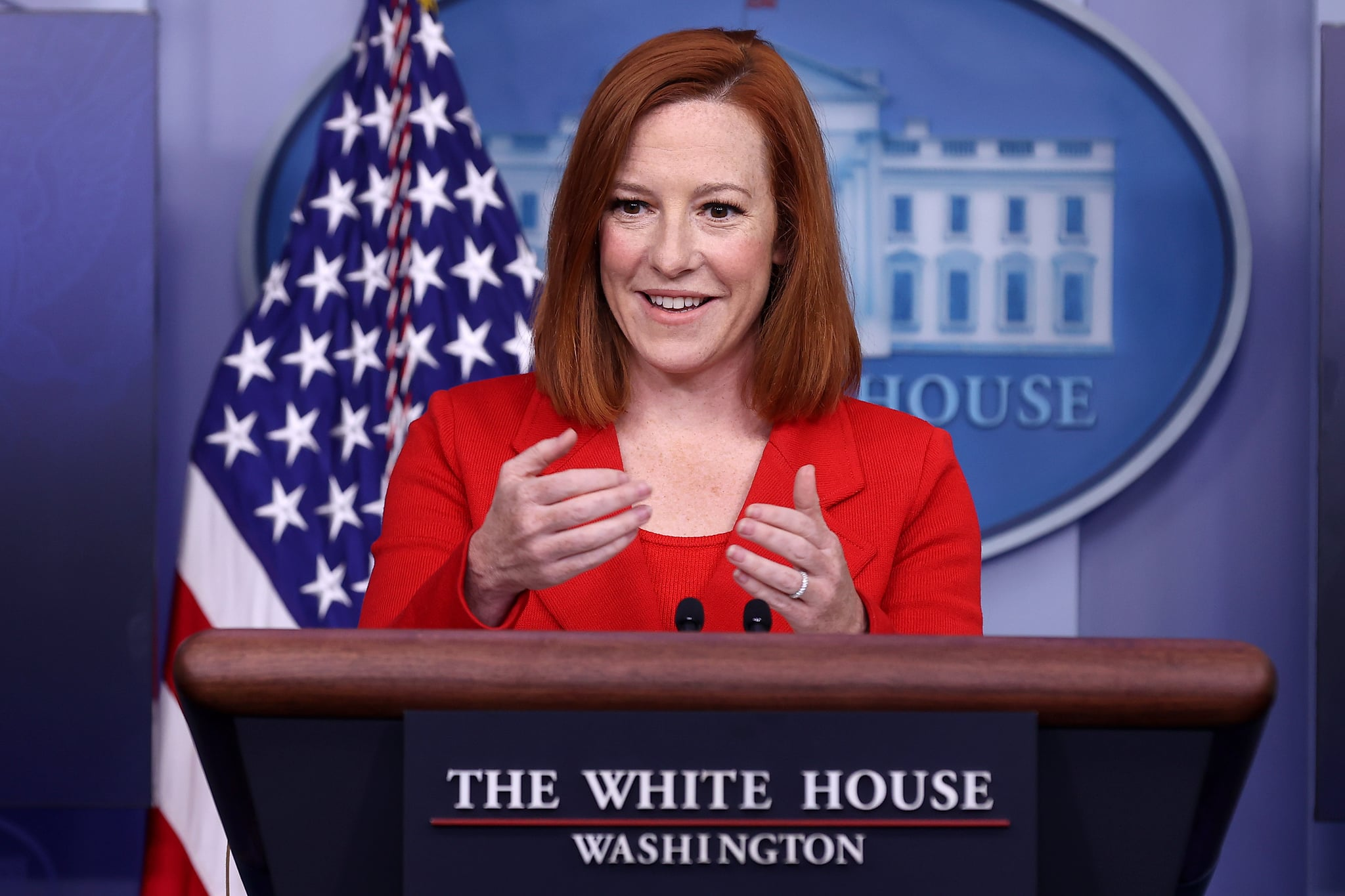 WASHINGTON, DC - APRIL 12: White House Press Secretary Jen Psaki talks to reporters during the daily news conference in the Brady Press Briefing Room at the White House on April 12, 2021 in Washington, DC. Psaki answered questions about immigration on the southern border, the ongoing semiconductor shortage, the president's infrastructure plan and other subjects.  (Photo by Chip Somodevilla/Getty Images)