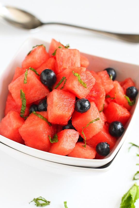 Watermelon and Blueberry Mojito Salad
