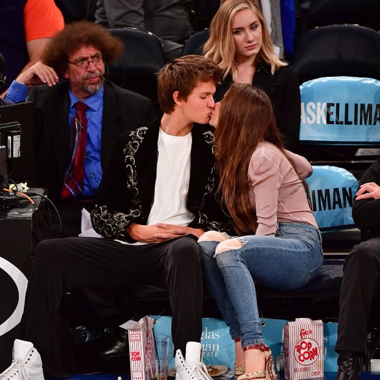 Ansel Elgort and Violetta Komyshan at Knicks Game Oct. 2016