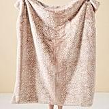 Anthropologie Fawn Faux Fur Throw Blanket