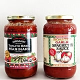 Trader Joe's Organic Tomato Basil Marinara ($2) and Roasted Garlic Spaghetti Sauce ($3)