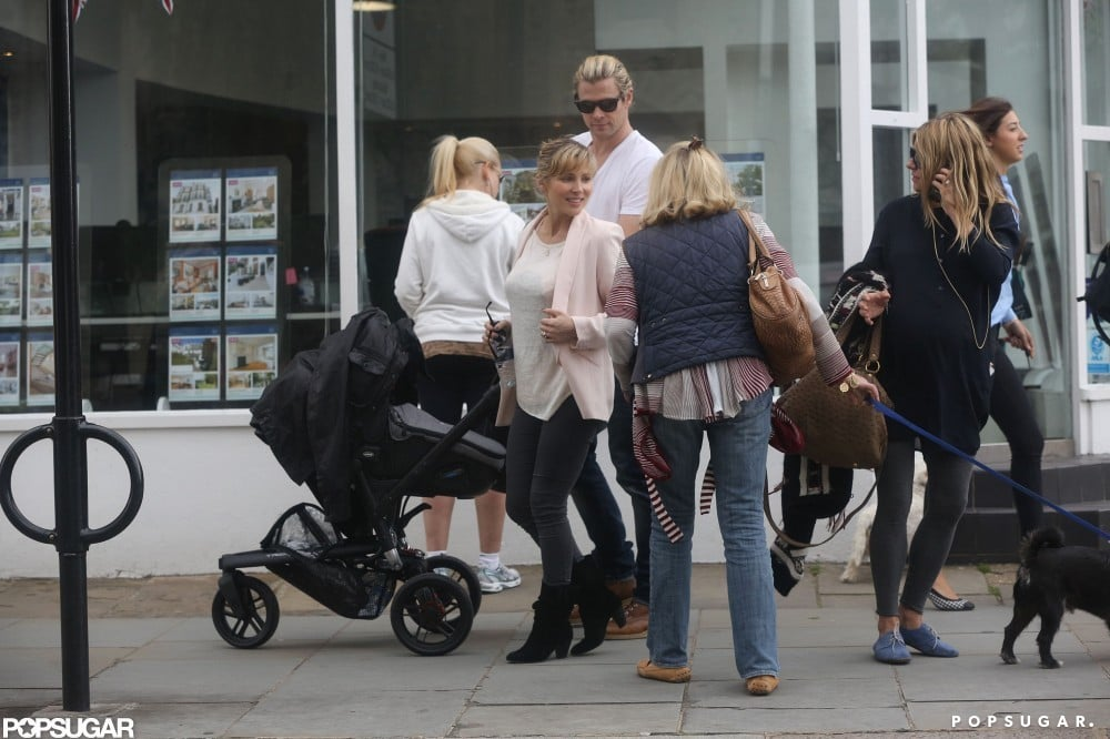 Sienna Miller bumped into Chris Hemsworth and his wife Elsa Pataky with their baby India in London.