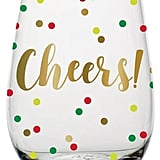 Cheers Confetti Stemless Wine Glass