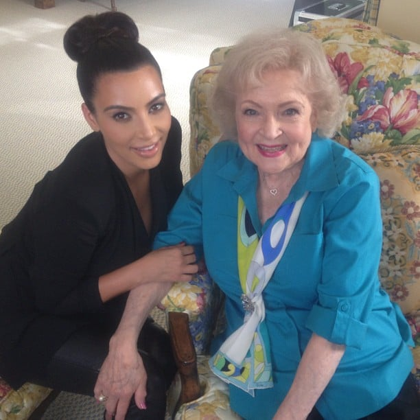 Kim Kardashian shared a photo of herself with Betty White. Source: Instagram user kimkardashian