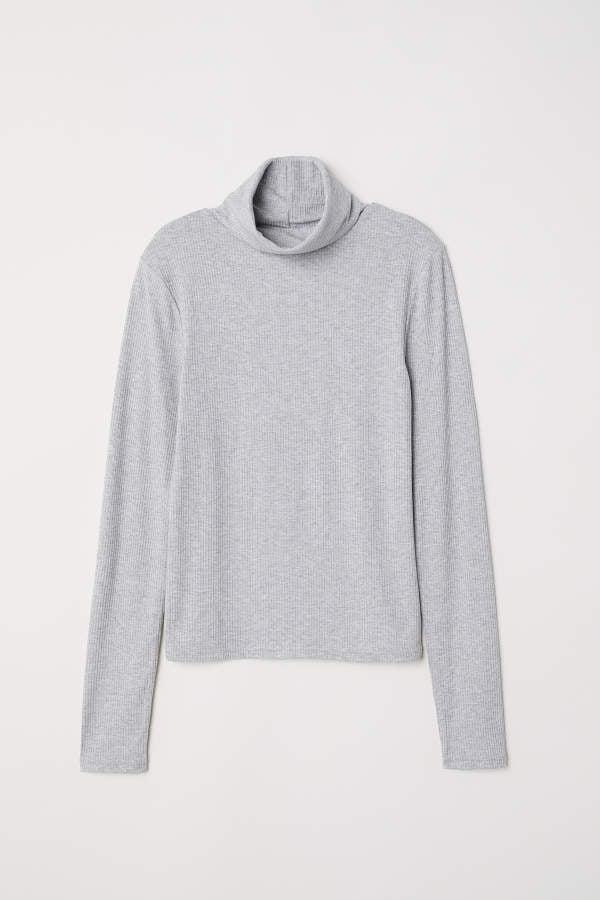 ce52e8cfd H&M Ribbed Turtleneck Top   Melania Trump's Gray Turtleneck Sweater ...