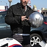 Ben Affleck got back to his motorcycle after lunch.