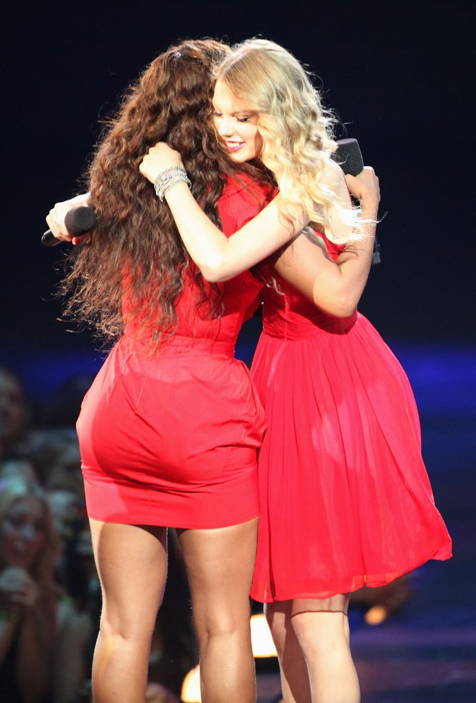 Taylor Swift got a big hug from Beyoncé after she allowed her to finish her acceptance speech — which was famously cut short by Kanye West — during the MTV VMAs in September 2009.