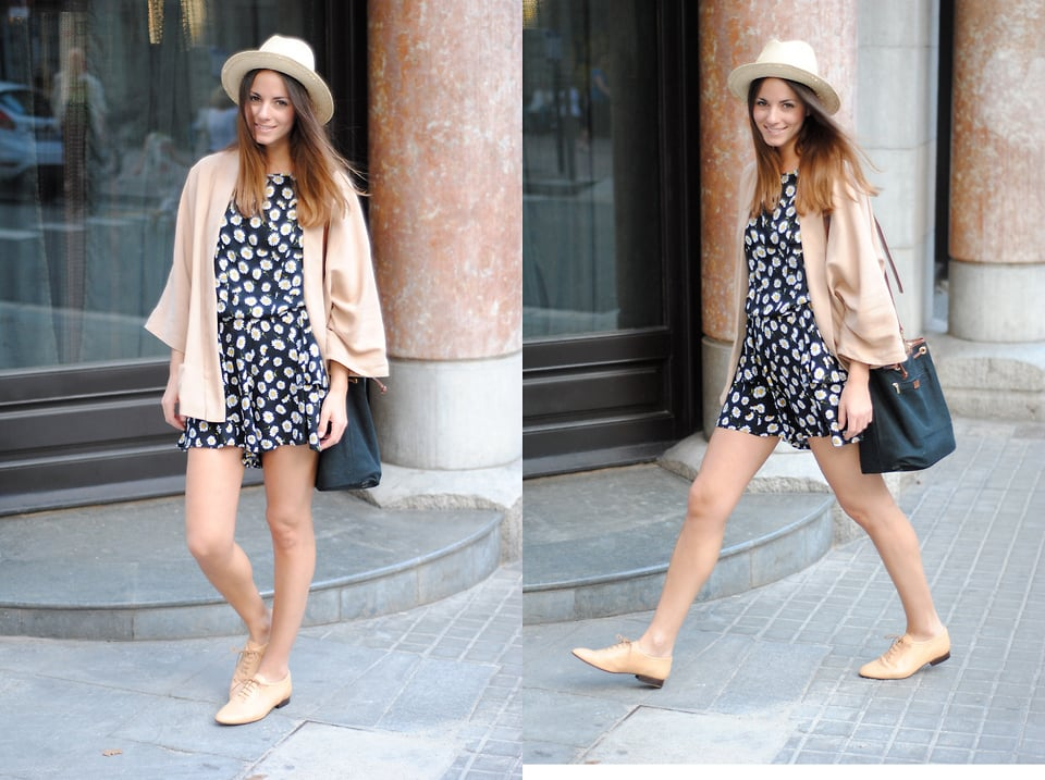 Polish Off A Girlie Floral Frock With A Straw Fedora Hat And Nude
