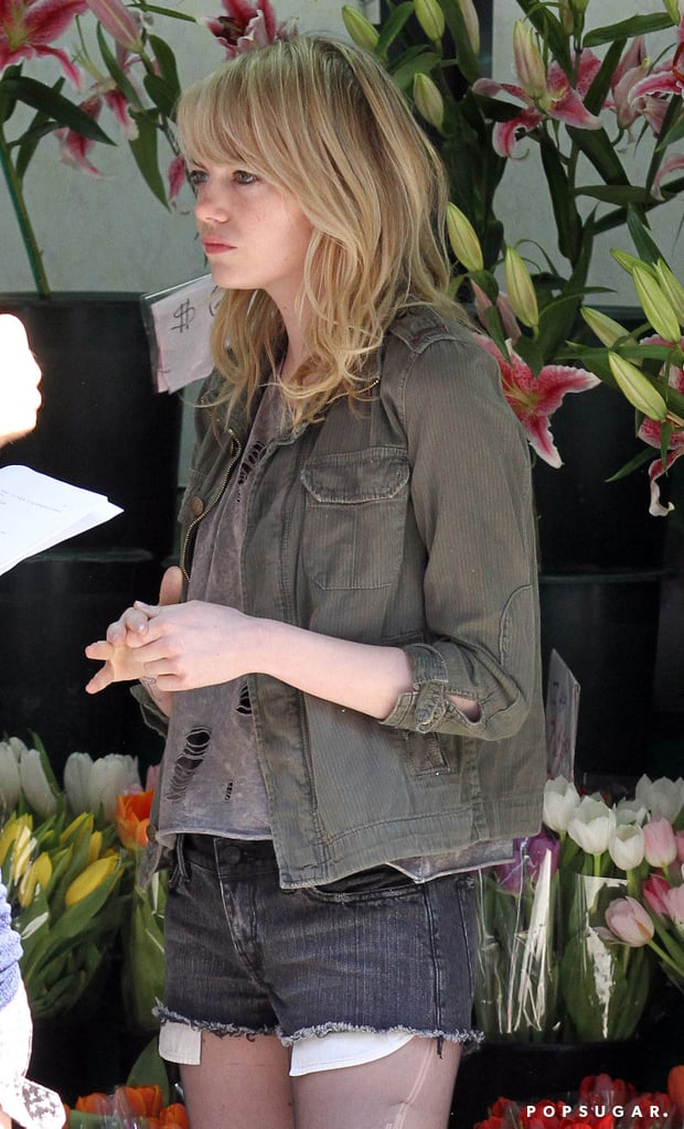 Emma Stone was on the set of Birdman in NYC.