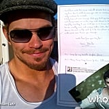 Kellan Lutz posed with a fan letter. Source: WhoSay user Kellan Lutz