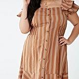 Plus-Size Pinstriped Button-Front Dress