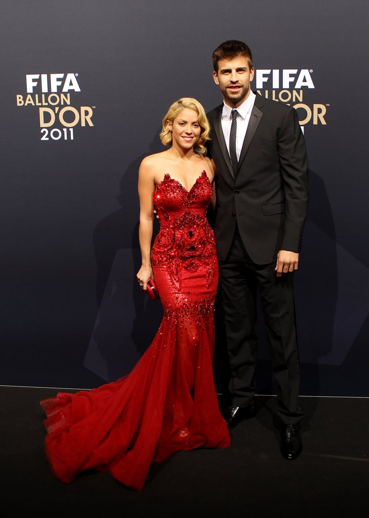 Shakira sparkled in a red gown.
