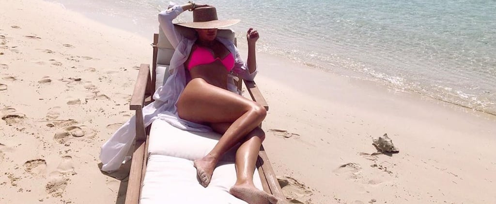 Khloé Kardashian Neon Pink Bikini in Turks and Caicos 2019